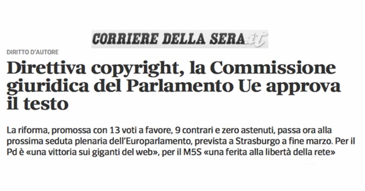 Copyright, via libera della commissione del Parlamento Ue alla riforma
